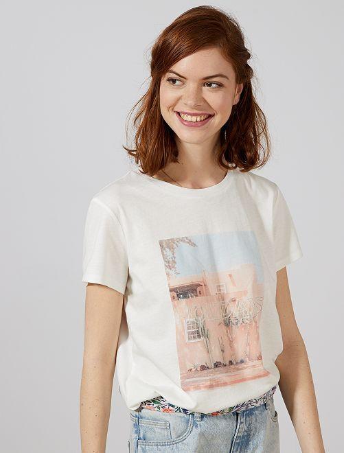4dd83e1c8 Camiseta photoprint de algodón puro Mujer talla 34 a 48 - BLANCO ...