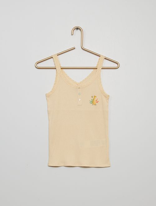 Camiseta pijama de tirantes                                         beige