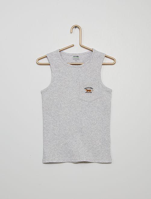 Camiseta pijama de tirantes estampada                                         GRIS
