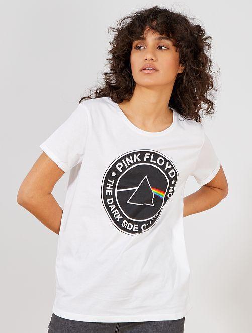 Camiseta 'Pink Floyd'                             blanco Mujer talla 34 a 48