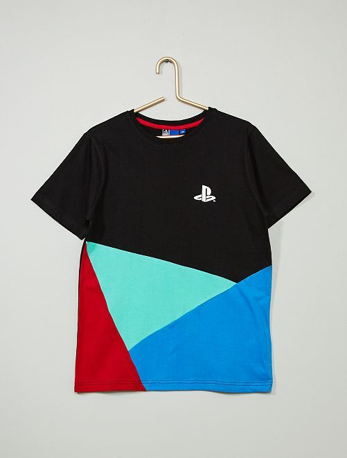 Camiseta 'Playstation' color block                             negro