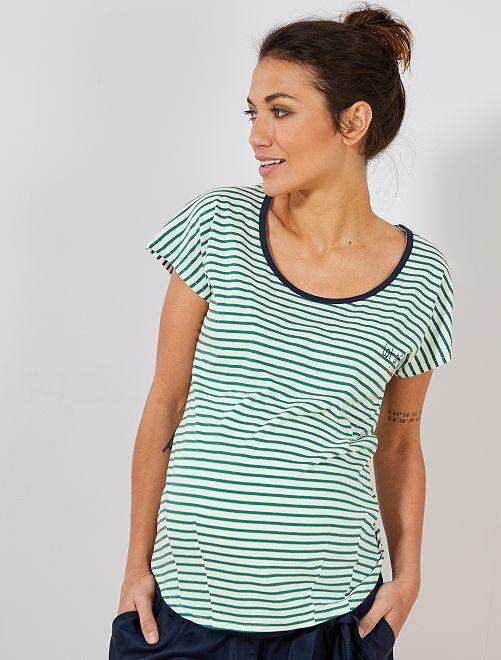 Camiseta premamá algodón ecológico                                                     VERDE Mujer talla 34 a 48