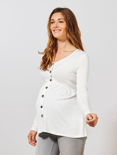 Camiseta premamá babydoll                                         blanco nieve