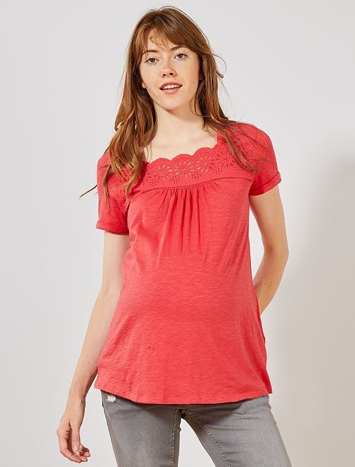 Camiseta premamá bordado inglés                                         rojo cereza