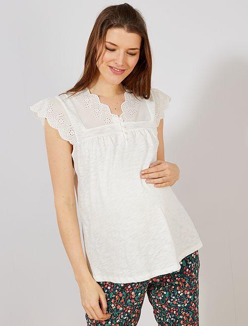 Camiseta premamá con bordado inglés                                                     blanco nieve Mujer talla 34 a 48