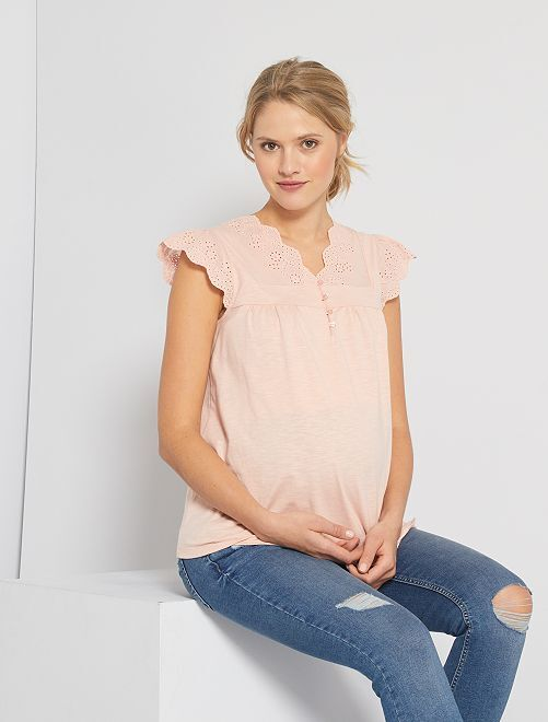 Camiseta premamá con bordado inglés                                                     ROSA