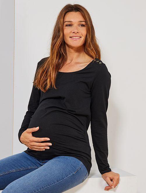 Camiseta premamá con botones                                                                 negro Premamá