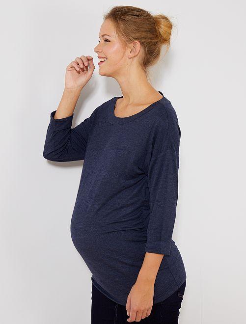 Camiseta premamá con cintas anudables                             AZUL Mujer talla 34 a 48
