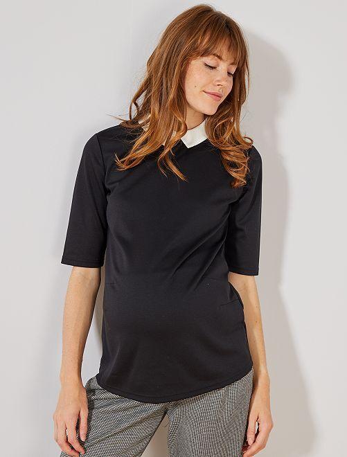 Camiseta premamá con cuello bebé                                                     negro