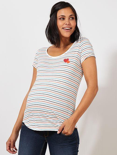Camiseta premamá de algodón orgánico                                                                                         BLANCO Mujer talla 34 a 48