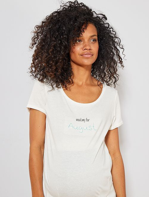 Camiseta premamá de algodón orgánico                                                                                                                                                                 BLANCO