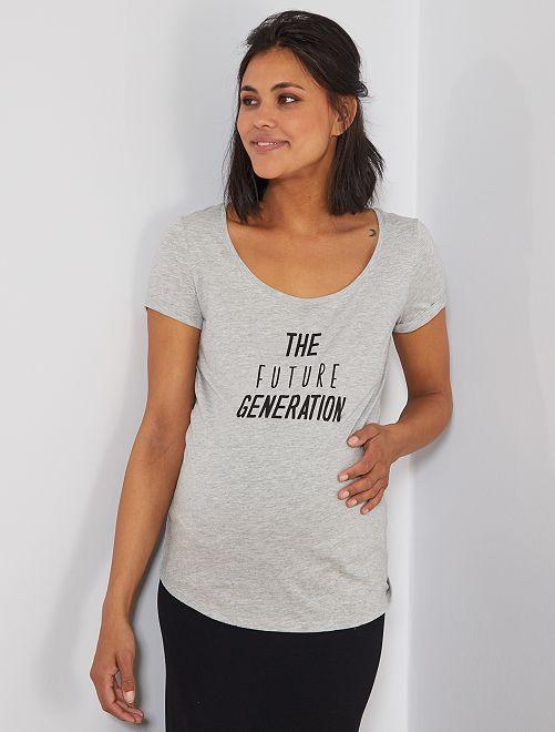 Camiseta premamá de algodón orgánico                                                                                         GRIS Mujer talla 34 a 48
