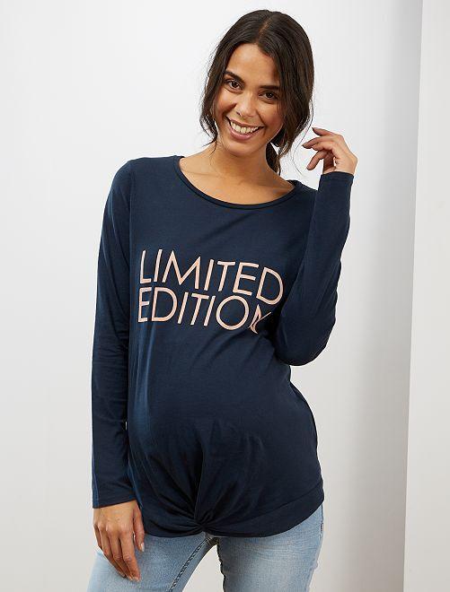 Camiseta premamá de algodón puro                     AZUL