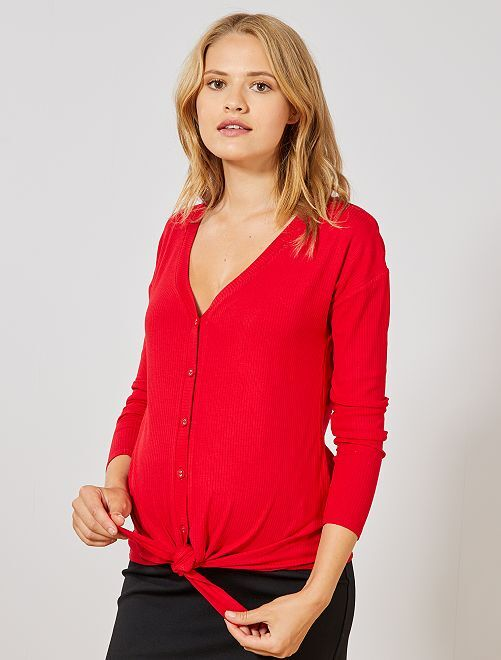 Camiseta premamá de punto de canalé                             rojo