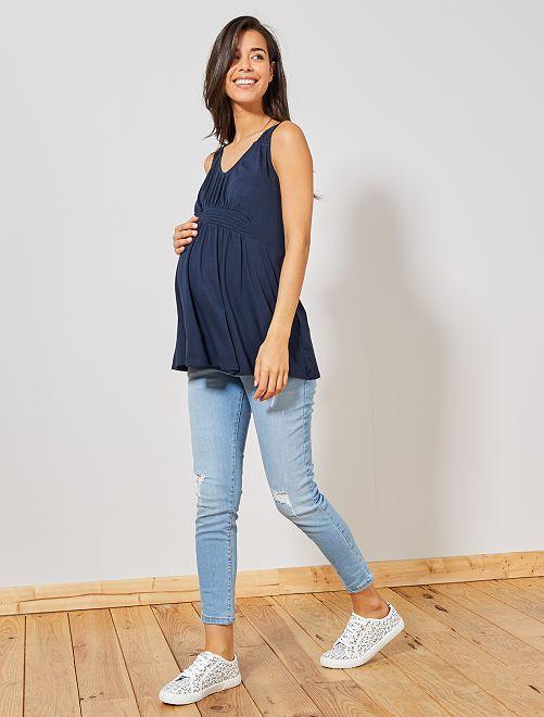 Camiseta premamá de tirantes                             azul Mujer talla 34 a 48