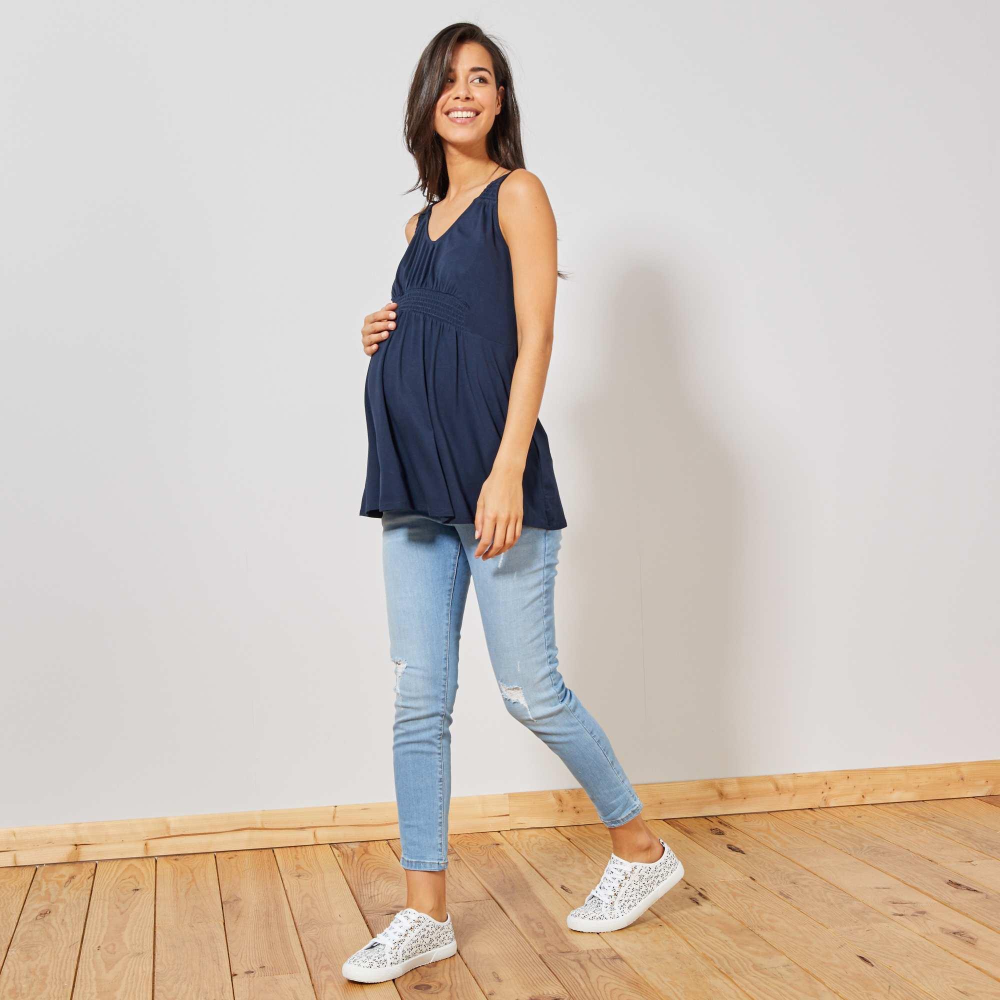a9456d2a9 Camiseta premamá de tirantes Mujer talla 34 a 48 - azul - Kiabi - 9,00€