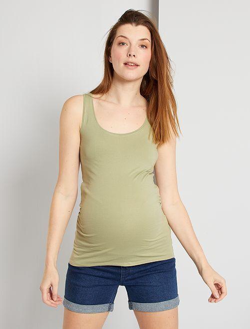 Camiseta premamá de tirantes 'eco-concepción'                                                                                                                 caqui claro