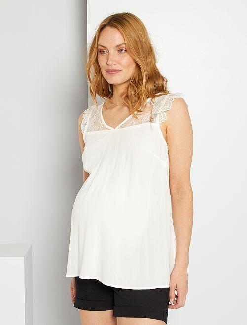 Camiseta premamá vaporosa                                                     blanco nieve