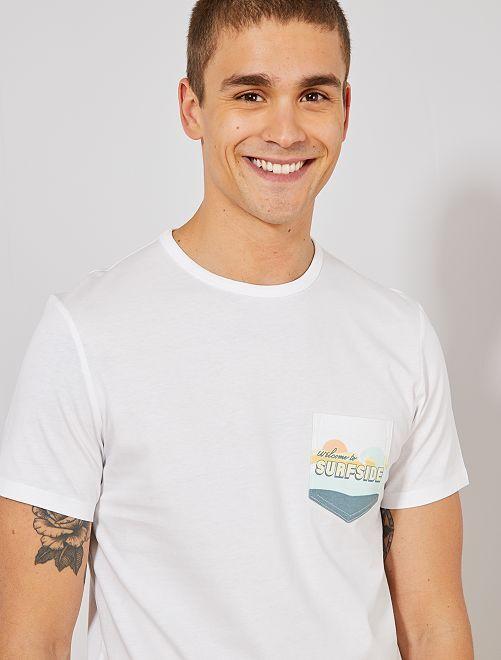 918b26e6743 Camiseta principalmente de algodón orgánico Hombre - BLANCO - Kiabi ...
