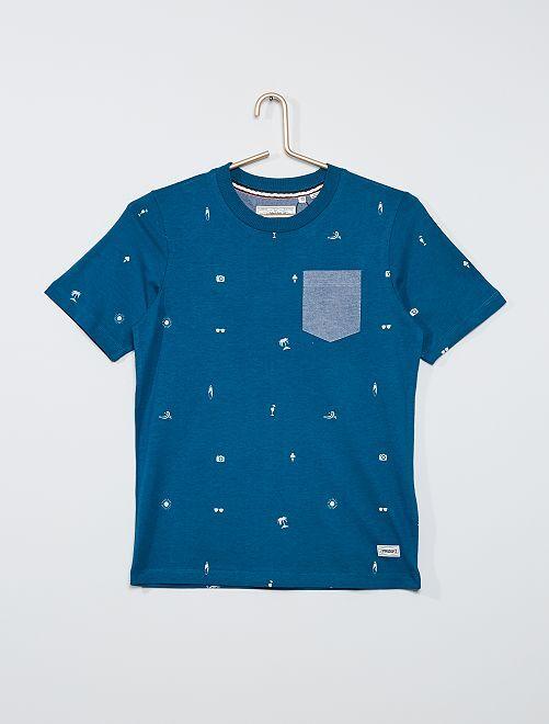 Camiseta 'Produkt' con bolsillo en el pecho                                         azul