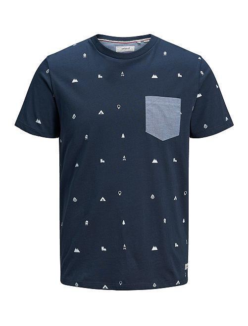 Camiseta 'Produkt' con bolsillo en el pecho                                                     azul marino