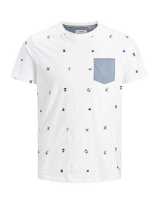 Camiseta 'Produkt' con bolsillo en el pecho                                                     blanco