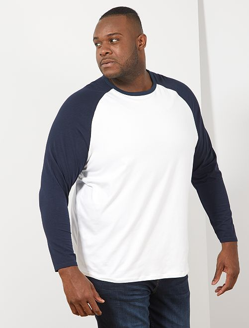 Camiseta raglán bicolor                             AZUL
