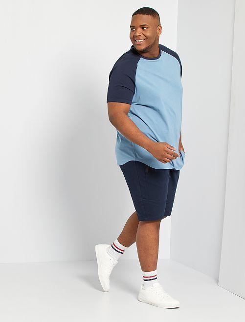Camiseta raglán bicolor eco-concepción                                 AZUL
