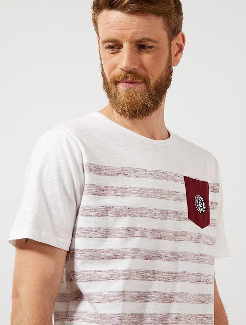 Camiseta recta a rayas                                                                 burdeos