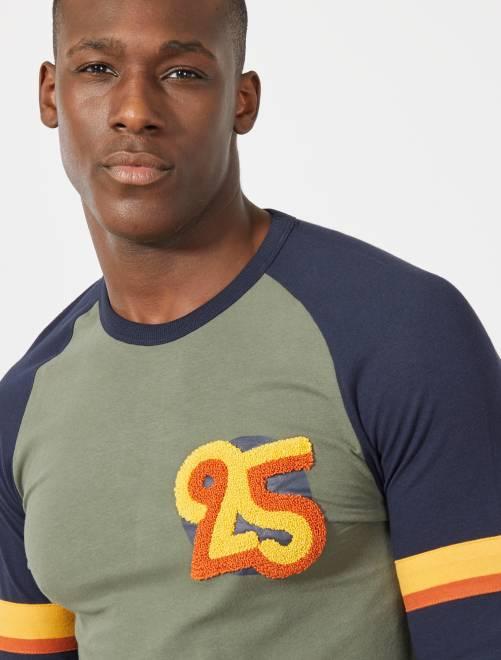 Camiseta recta bicolor raglán                                         VERDE Hombre