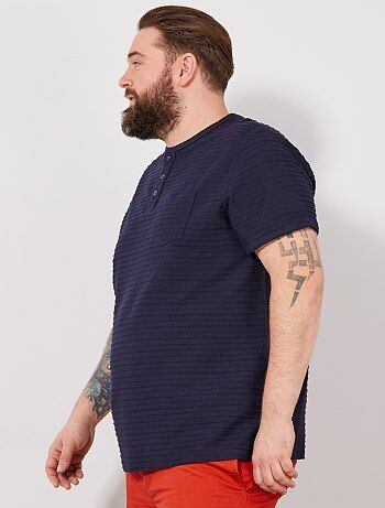 36222647e Tallas grandes hombre - Camiseta recta con cuello panadero - Kiabi