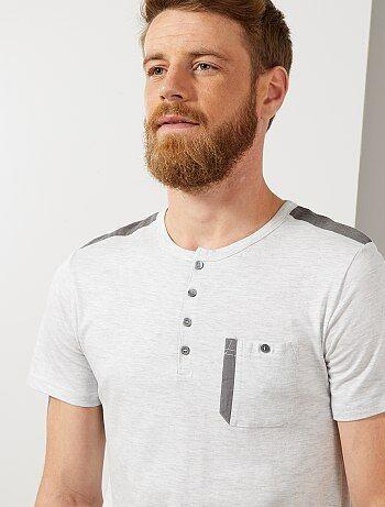 f9f16f2bf66 Hombre talla S-XXL - Camiseta recta con cuello panadero - Kiabi