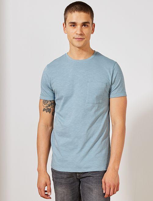 Camiseta recta de algodón orgánico                                                                                         azul gris Hombre