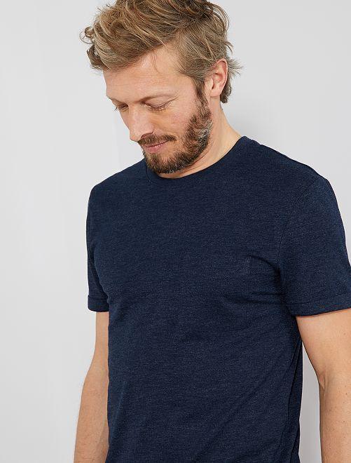 Camiseta recta de algodón orgánico                     AZUL