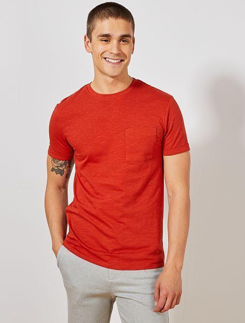 Camiseta recta de algodón orgánico                                                                                                     naranja ketchup Hombre