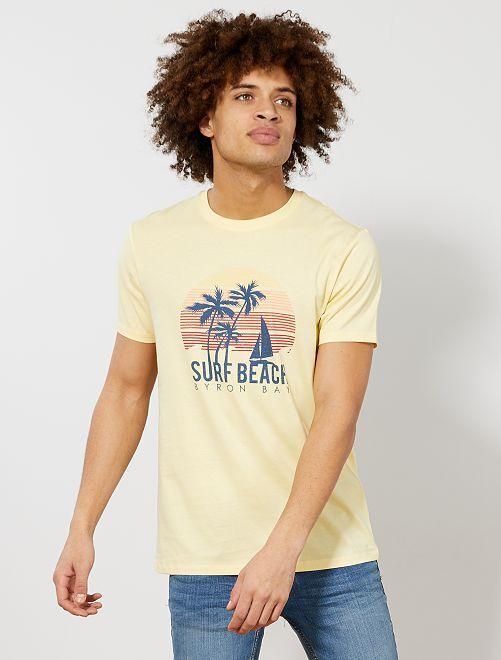 Camiseta recta estampada Ecodiseño                                                                                                                                         AMARILLO Hombre