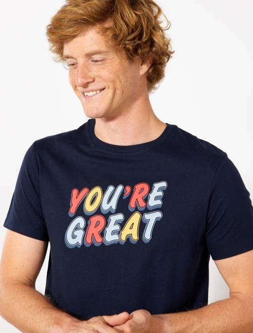 Camiseta recta estampada Ecodiseño                     AZUL Hombre