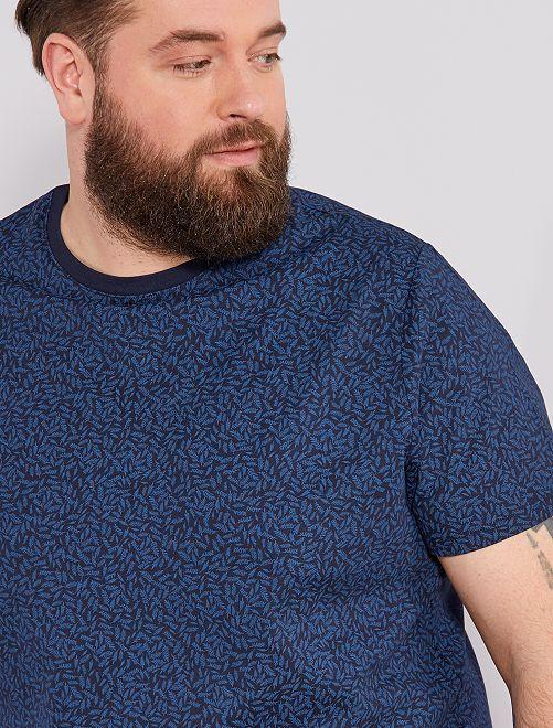 Camiseta recta estampada Ecodiseño                                                                                                                                                         AZUL Tallas grandes hombre