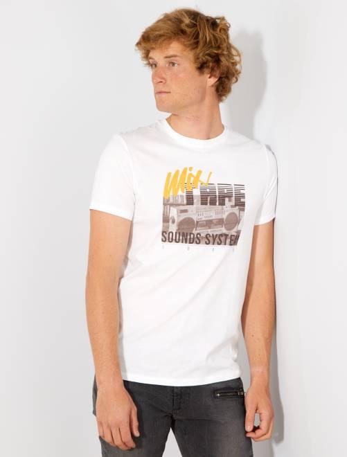 Camiseta recta estampada Ecodiseño                                                                                                     BLANCO Hombre
