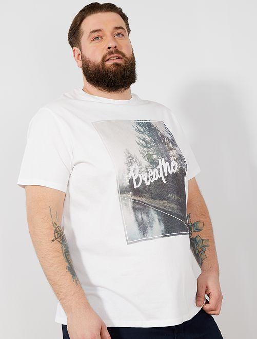 Camiseta recta estampada Ecodiseño                                                                                                                                                     BLANCO Tallas grandes hombre