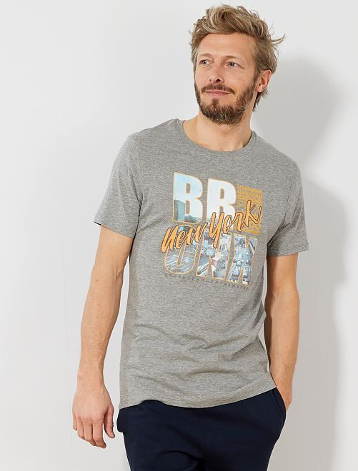 Camiseta recta estampada Ecodiseño                                                                                 GRIS Hombre