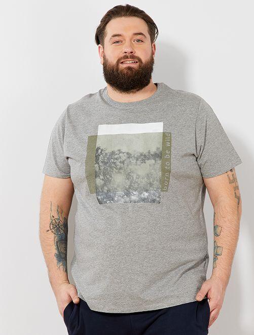 Camiseta recta estampada Ecodiseño                                                                                                                                                     GRIS Tallas grandes hombre