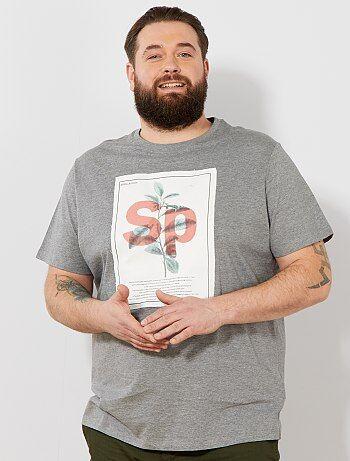 2d06365e26 Tallas Ecodiseño Kiabi Grandes Estampada Hombre Camiseta Recta nZXUwOrZq