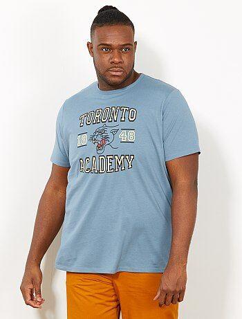 8079dc0b Tallas grandes hombre - Camiseta regular con estampado campus - Kiabi