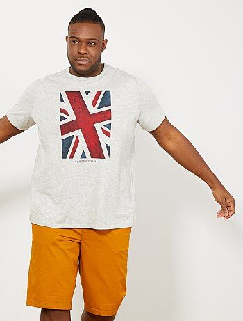e78cc2de Tallas grandes hombre - Camiseta regular con estampado de bandera - Kiabi