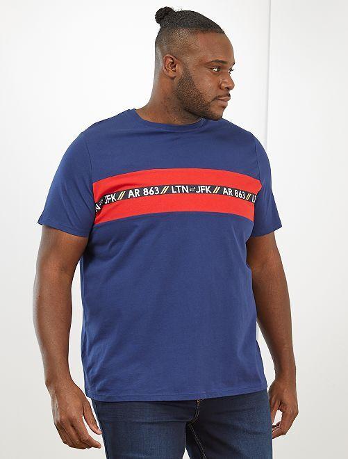 Camiseta regular con estampado de palmeras +1,90 m                                         azul oscuro