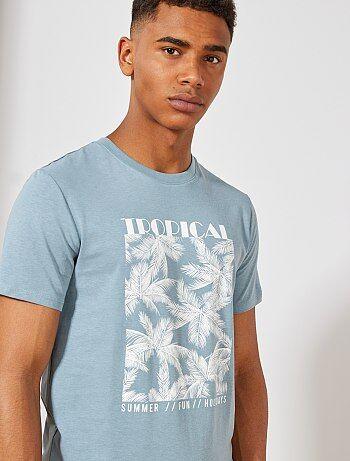 3d3fb2573cc9 Hombre talla S-XXL - Camiseta regular con estampado de palmeras - Kiabi