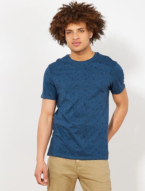 Camiseta regular con micromotivo                                                                 AZUL Hombre