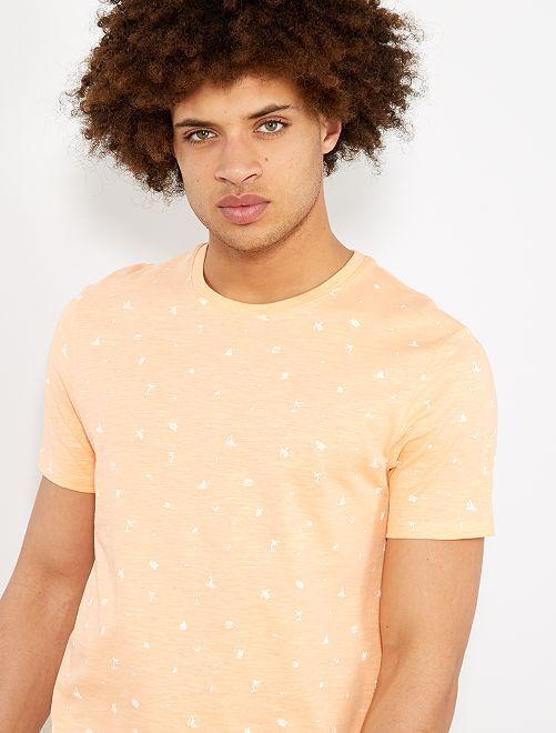 Camiseta regular con micromotivo                                                                 NARANJA Hombre