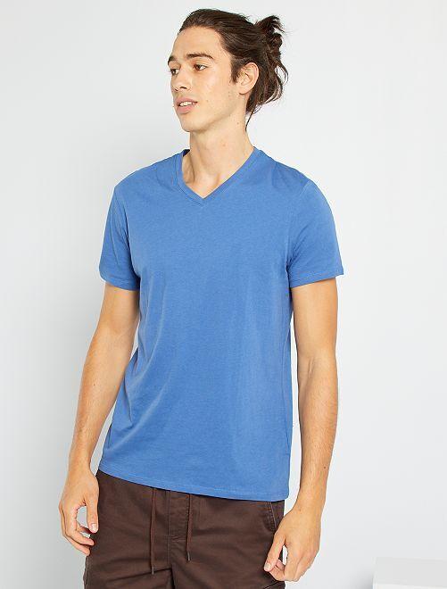 Camiseta regular de algodón con cuello de pico                                                                                                                                                                                                                                                     AZUL